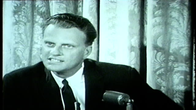 wgn billy graham at a press conference discussed chicago' reputation for crime says chicago is the religious center of america at the opening of... - preacher stock videos and b-roll footage