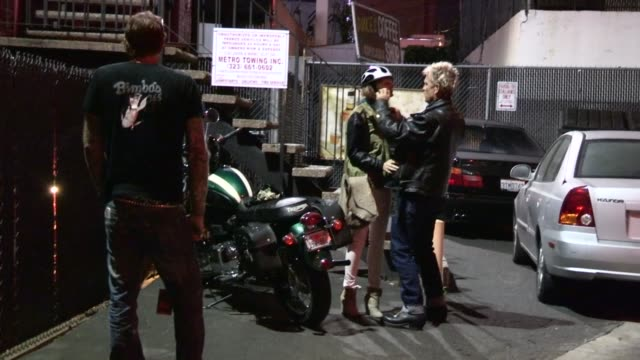Billy Idol and friend on Trumpet Motorcycle depart Whisky a Go Go at Celebrity Sightings in Los Angeles Billy Idol and friend on Trumpet Motorcycle...