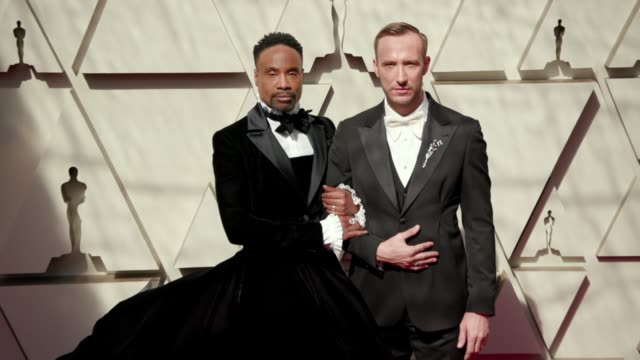 billy porter and adam smith at the 91st academy awards - arrivals at dolby theatre on february 24, 2019 in hollywood, california. - academy awards video stock e b–roll