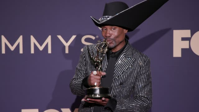 billy porter at the 71st emmy awards - press room at microsoft theater on september 22, 2019 in los angeles, california. - emmy awards stock-videos und b-roll-filmmaterial