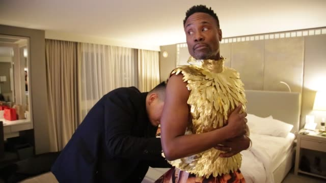 billy porter gets ready for the 92nd academy awards on february 09 2020 in los angeles california - academy of motion picture arts and sciences stock videos & royalty-free footage
