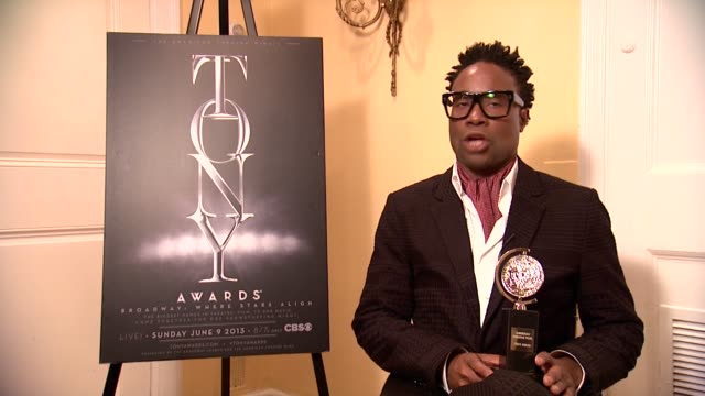 billy porter on being grateful for his award and being prepared at the 67th annual tony awards - arrivals at radio city music hall on june 09, 2013... - radio city music hall stock videos & royalty-free footage