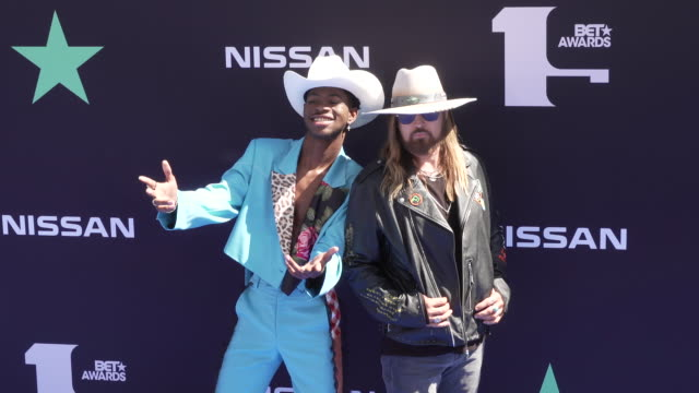 billy ray cyrus and lil nas x at the 2019 bet awards at microsoft theater on june 23 2019 in los angeles california - black entertainment television stock videos & royalty-free footage
