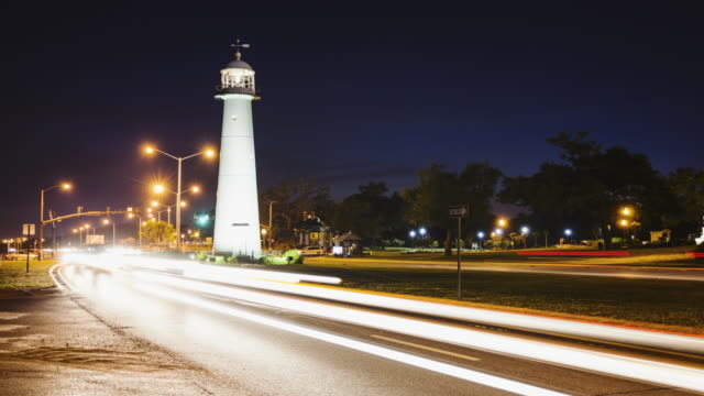 Biloxi Lighthouse at Night and Traffic in The Gulf Coast State of Mississippi - Time Lapse