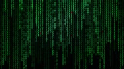 Binary code black and green background with digits moving on screen, Concept of digital age. Algorithm binary, data code, decryption and encoding, row matrix background.
