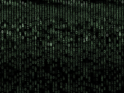 Binary code cascading down screen