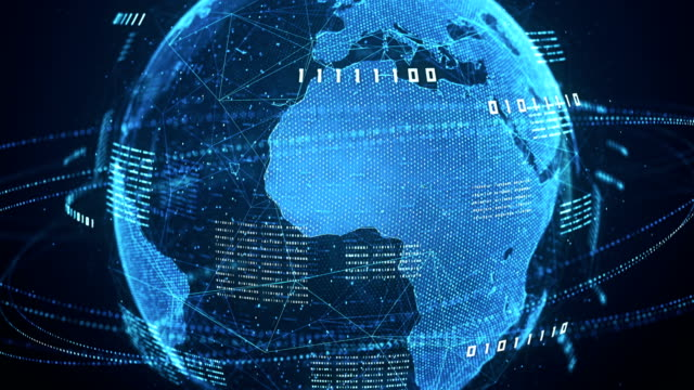 binary code globe (blue) - loop - sorveglianza video stock e b–roll