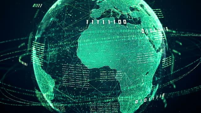 binär-code globe (grün) - loop - computeranlage stock-videos und b-roll-filmmaterial