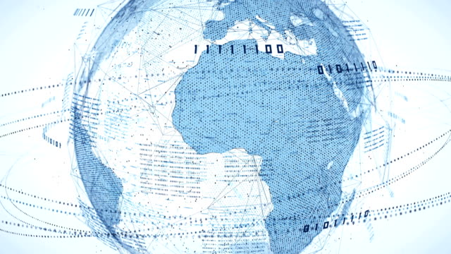 binary code globe (bright) - loop - binary code stock videos & royalty-free footage