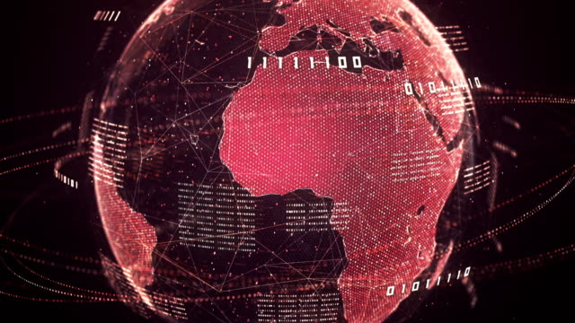 binary code globe (red) - loop - sicurezza di rete video stock e b–roll