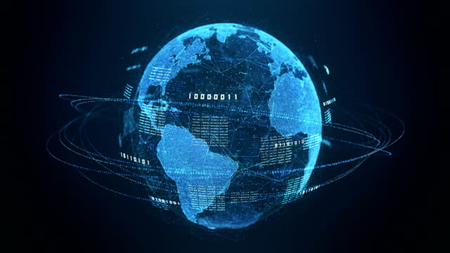 binary code globe (blue) - loopable after six seconds - sicurezza di rete video stock e b–roll