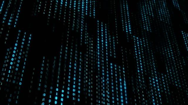 binär kod slumpmässigt på grid panel i cyber rymden, teknik konceptet bakgrund - binär kod bildbanksvideor och videomaterial från bakom kulisserna