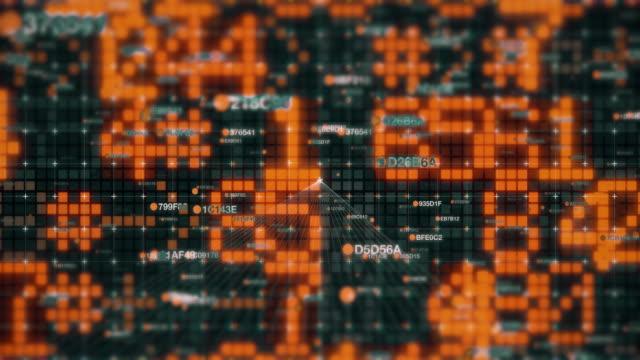 binary digital code numbers in wire grid background