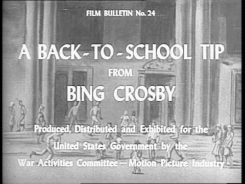 stockvideo's en b-roll-footage met bing crosby thanks the kids in the audience for the job they did over the summer to raise money for the war effort but now it's time to go back to... - bing crosby