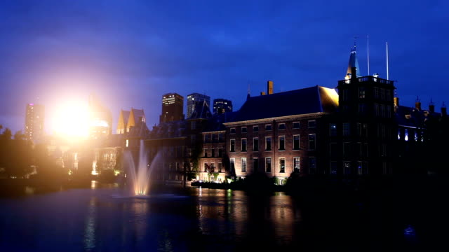 binnenhof at sunset in the hague - binnenhof stock videos and b-roll footage