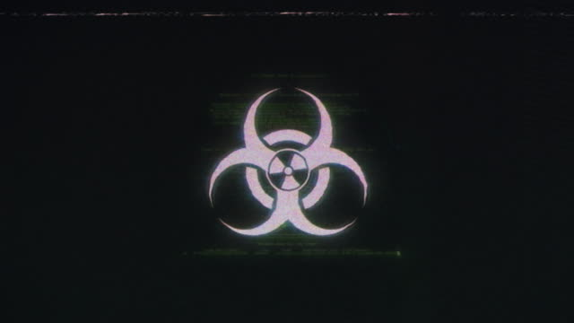 biohazard symbol background with vhs damages applied - biohazard symbol stock videos & royalty-free footage