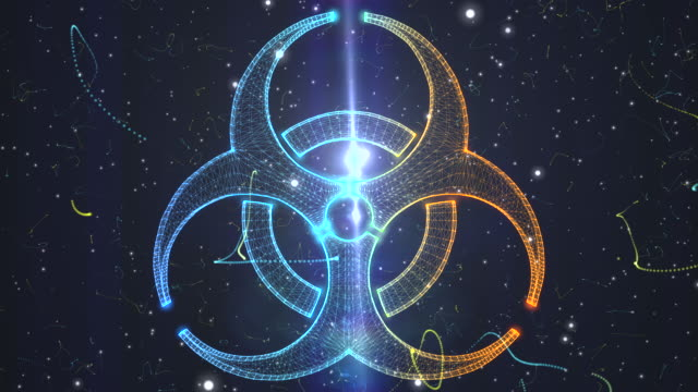 biohazard symbol from a particle vortex - armi di distruzione di massa video stock e b–roll