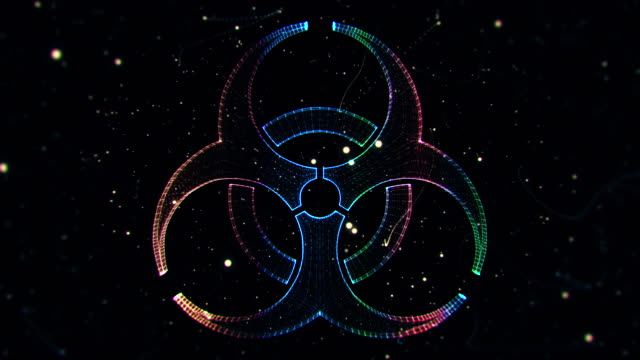 biohazard symbol from a particle vortex - biohazard symbol stock videos and b-roll footage