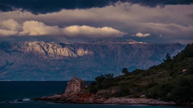 Biokovo coastline seen from Jelsa, Hvar Island, Dalmatia, Croatia