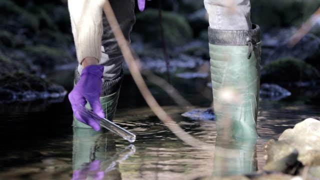 vídeos de stock, filmes e b-roll de biólogo tirando uma amostra de água de um córrego - amostra científica