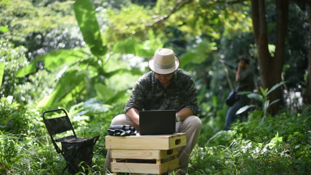 biologist team using a laptop and radio telemetry antenna to track the sound of wild animal - animal antenna stock videos & royalty-free footage