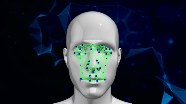biometric facial recognition technology scanning face - robot human face stock videos & royalty-free footage