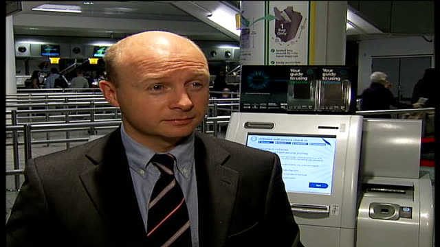 biometric scanning trial at heathrow airport liam byrne launch and interview / gvs of biometric scanning machine liam byrne mp interview sot [asked... - identity stock videos & royalty-free footage