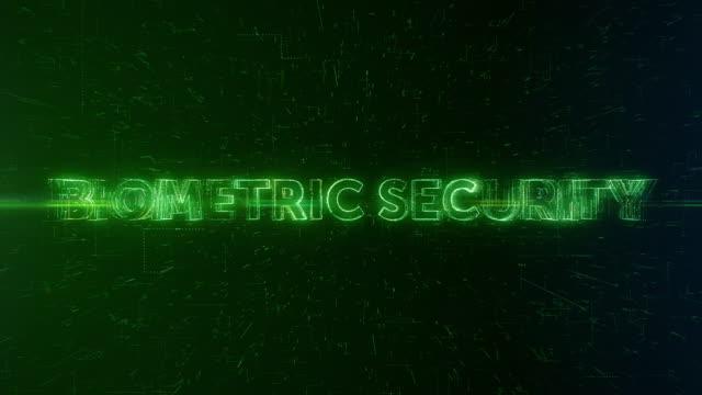 biometrische sicherheit worte animation - fingerabdruck stock-videos und b-roll-filmmaterial