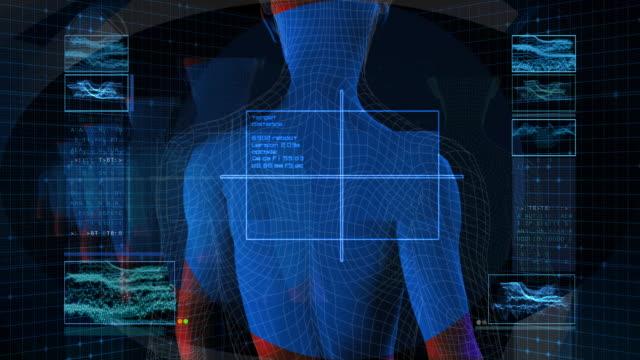 bionic 3d-frau im profil (hd-loop - drahtrahmenmodell stock-videos und b-roll-filmmaterial