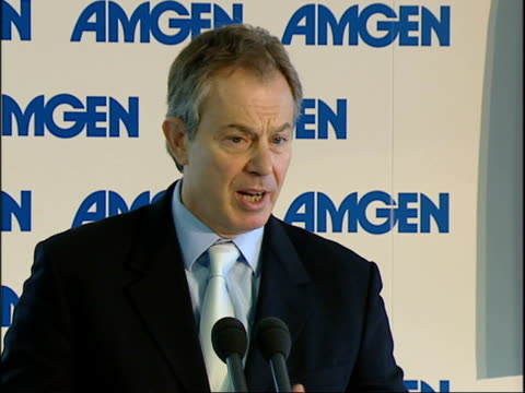 blair visits new facility visit gvs tony blair mp speech sot welcomes people to sunny uxbridge / honour to come to amgen and perform opening ceremony... - newly industrialized country stock videos & royalty-free footage