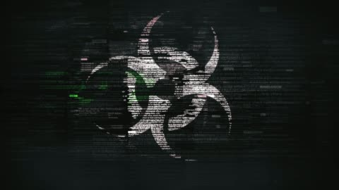 vídeos y material grabado en eventos de stock de símbolo de biovirus en pantalla glitchy - mensaje de error