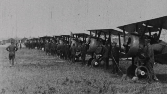 bi-planes prepare to take off / france - world war one stock videos & royalty-free footage