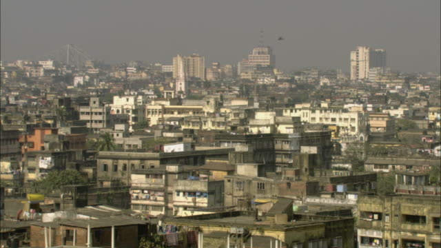 WS PAN Bird flying over hazy cityscape with Howrah Bridge in background/ Calcutta, India