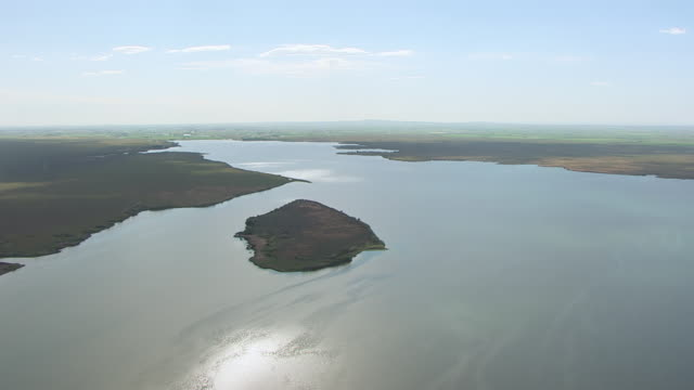 WS AERIAL Bird Island at Minidoka National Wildlife Refuge at Snake River Valley / Idaho, United States