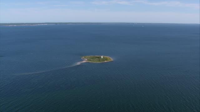 AERIAL Bird Island lighthouse / Marion, Massachusetts, United States