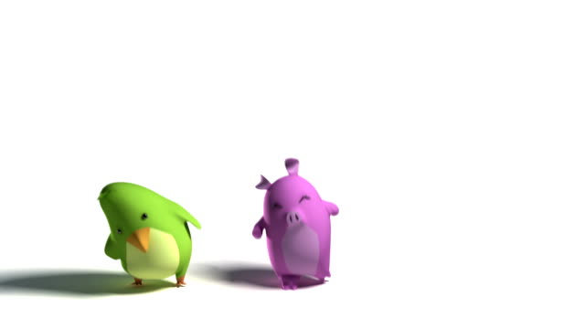 bird rabbit and pig dance loopable - animation stock videos & royalty-free footage