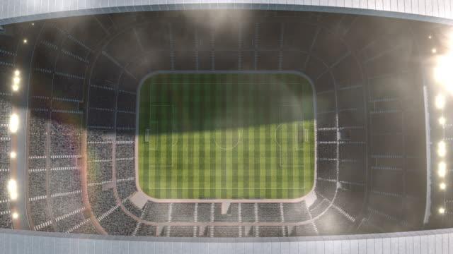 Bird view of soccer stadium full of spectators