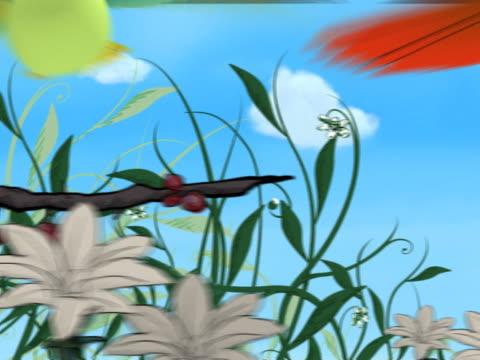 vögel 3d fliegen in einer gemalten hintergrund mit zwei doppelbetten - handcoloriert stock-videos und b-roll-filmmaterial