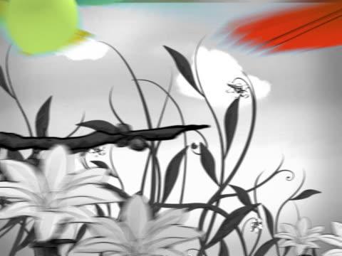 vögel fliegen im 3d - 2d painted schwarz & weißem hintergrund - handcoloriert stock-videos und b-roll-filmmaterial
