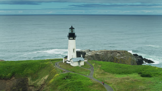 birds and sightseers at yaquina head lighthouse - aerial - oregon coast stock videos & royalty-free footage