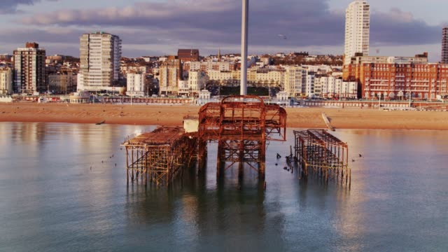 birds erupting from roosts on west pier ruins, brighton - 1975 stock videos & royalty-free footage