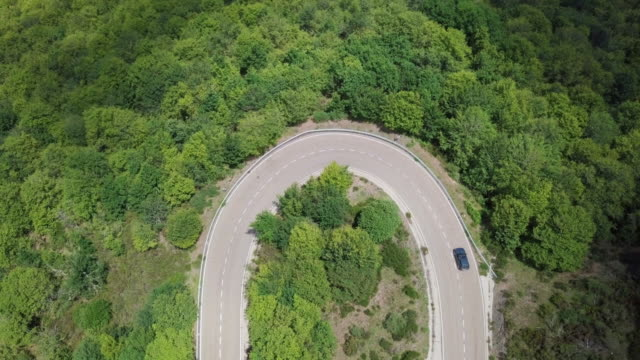 Birds eye aerial view of a car on a curved road in the forest