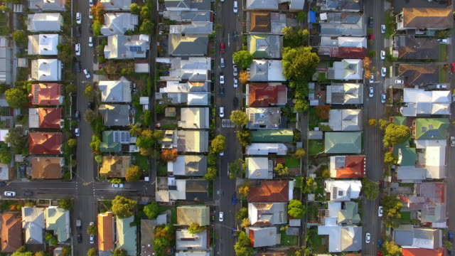a birds eye view a typical australian urban suburb. - district stock videos & royalty-free footage