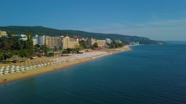 bird's eye view - flight along golden sands tourist resort, varna/ bulgaria - bulgaria stock videos & royalty-free footage