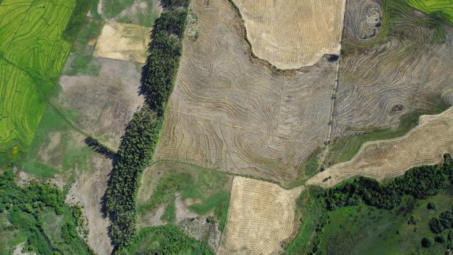 Birds Eye View Flying Over Farmland