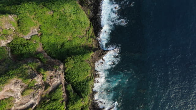 birds eye view flying over rocky coastline - terreno video stock e b–roll