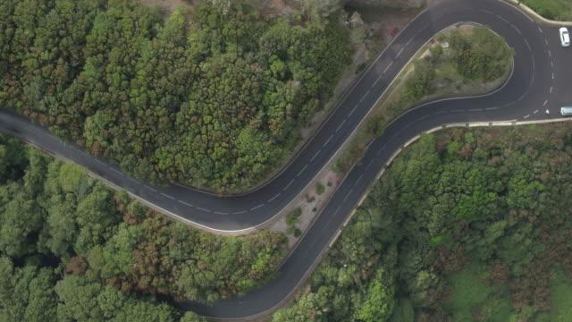 4K birds eye view of a empty winding road at Tenerife, Spain.