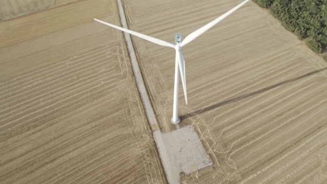 Birds eye view of a wind generator from a drone