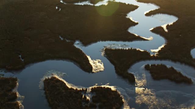 vídeos de stock, filmes e b-roll de bird's eye view of bayou esculpida por pascagoula river delta, mississippi - pântano