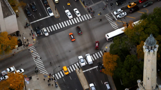 birds eye view of chicago downtown - road junction stock videos & royalty-free footage